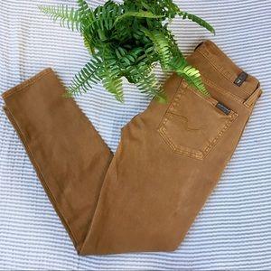 7FAMK Roxanne Skinny Jeans Camel Brown Tan Size 27